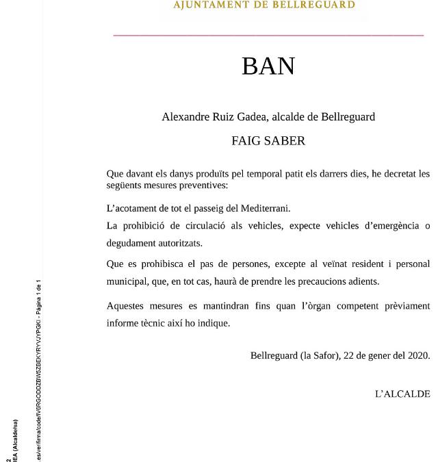 Ban: Acotat tot el passeig del Mediterrani pels danys patits durant el temporal