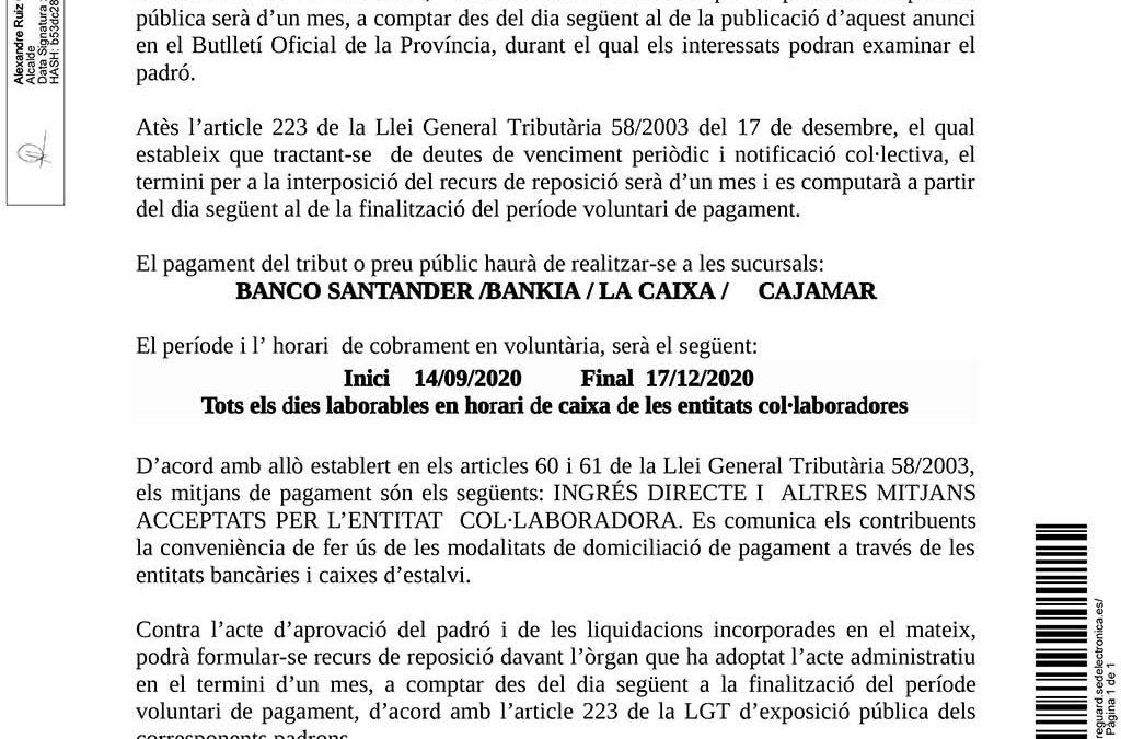 Obert el periode període per al pagament voluntari de l'IBI rústic i l'IAE